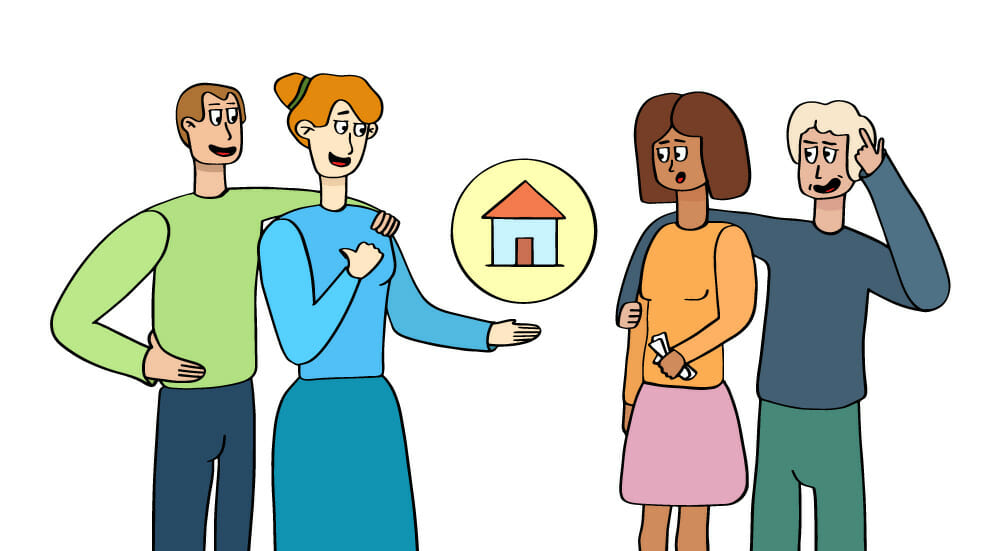 illustration of two couples discussing real estate with a graphic of a house between them