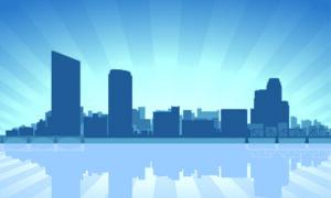 Grand Rapids Michigan skyline illustration
