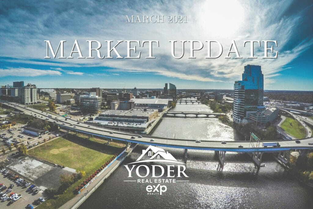 grand rapids skyline with march 2021 market update text